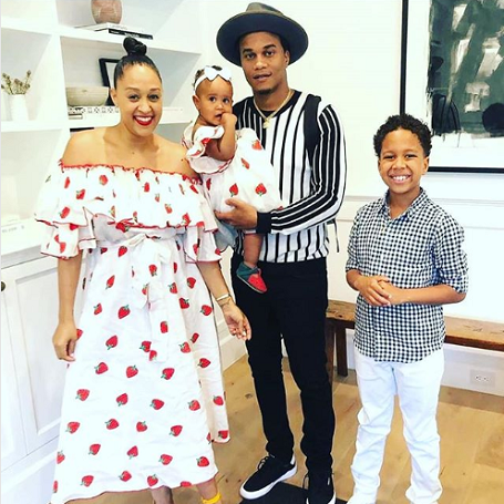 Cory Hardrict with his wife Tia Mowry and his children.