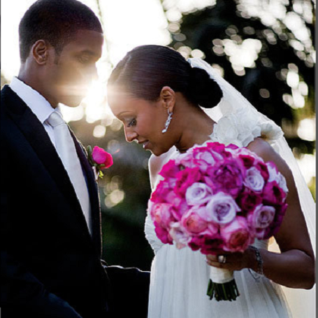 Cory Hardrict  and his wife  Tia Mowry in their marriage cereomny.