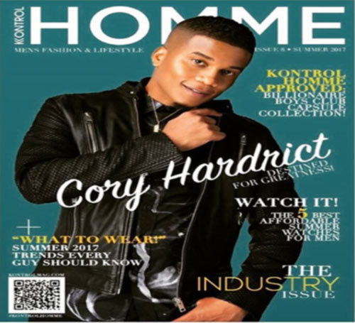 Cory Hardrict as a cover model on the front page of magazine