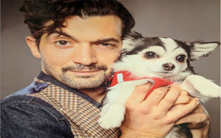 David Alpay with his puppy
