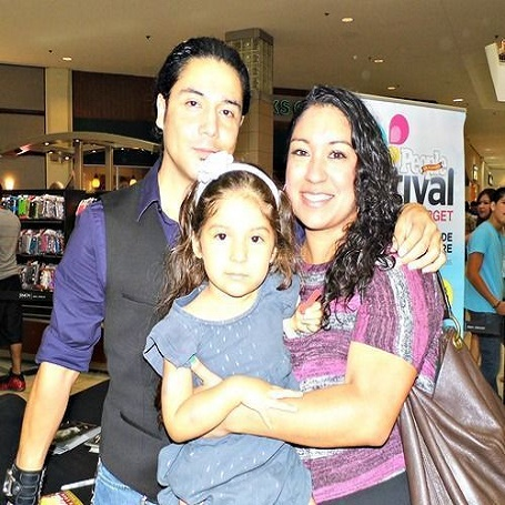 Venessa Villanueva and her ex-husband along with her first child.